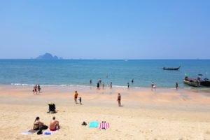 People sunbathing on Ao Nang Beach